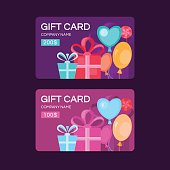 Gift card template. Discount coupon. Special offer for the customer. Place for text. Background with gifts for banners, invitations, tickets, vouchers.