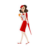 vector flat cartoon young woman in red felt beret, skirt holding umbrella, glass of wine and croissant. French, parisian style female portrait full length. Isolated illustration ona white background.