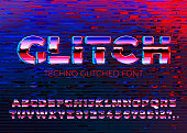 Vector gliched techno font with distortions, on dark broken screen background.