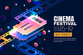 Vector glowing neon cinema festival banner. Cinema tickets in 3d isometric style on abstract night cosmic sky background. Design template with copy space for movie poster, sale theatre tickets.