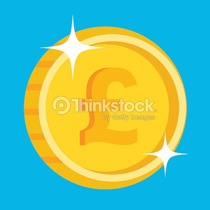 Vector Gold Coin Icon With British Pound Symbol British Currency