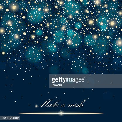 Vector gold glitter particles background effect for luxury greeting rich card. Sparkling texture. Star dust sparks in explosion on blue background. Vector illustration : Vector Art