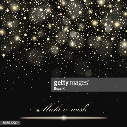Vector gold glitter particles background effect for luxury greeting rich card. Sparkling texture. Star dust sparks in explosion on black background. Vector illustration : Vector Art