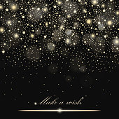 Vector gold glitter particles background effect for luxury greeting rich card. Sparkling texture. Star dust sparks in explosion on black background. Vector illustration