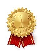 Vector gold medal with red ribbons isolated on white background.
