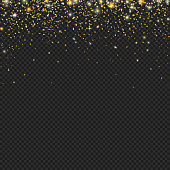 Vector gold snow glitter particles texture on a black background. Snowfall with confetti, stars and sparkles