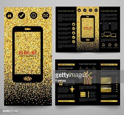 Vector golden elegant business brochure design : Vector Art