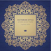 Vector frame in Victorian style on dark blue background. Baroque ornate element and place for text. Golden ornamental pattern and traditional decor.