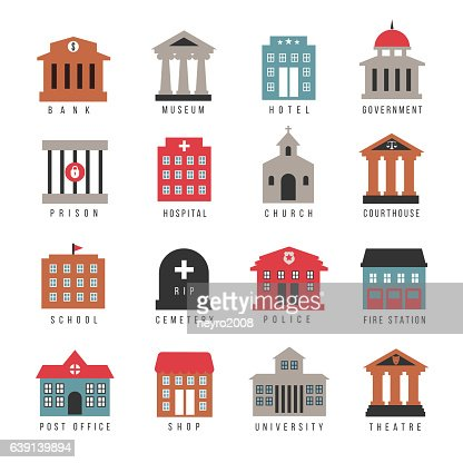 Vector government building colored icons : Arte vettoriale