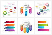 Vector gradient infographic and marketing elements. Can be used for presentation, diagrams, annual report, web design. Business concept with 3, 4 and 5 options, steps or processes.