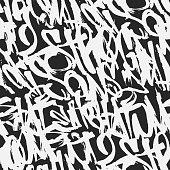 Vector graffiti grunge tags seamless pattern, print design