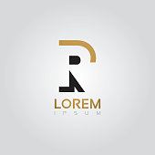 Vectorial alphabet silhouette element in black and gold - R