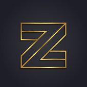 Vector graphic geometric alphabet symbol with elegant  lines - Z