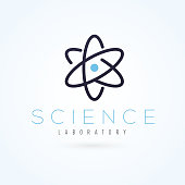 Vector graphic scientific atom symbol with sample text for your company.