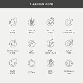 Vector graphic set of diet and food intolerance icons and labels in minimal and modern style
