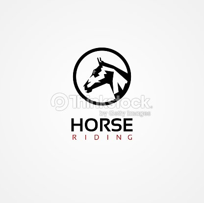 Vector Graphic Symbol Of A Horse Face With Sample Text Vector Art