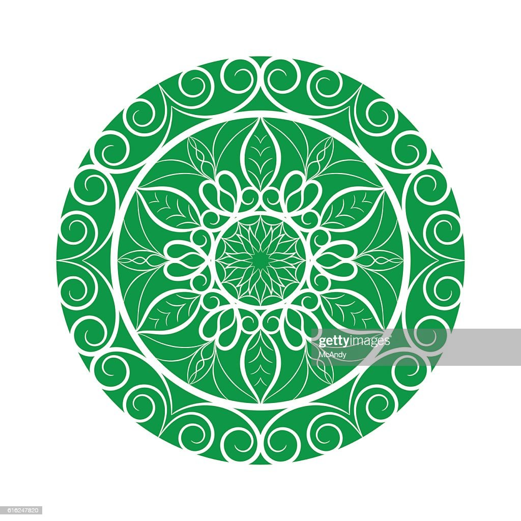Vector Green Flower mandala over white : Vector Art