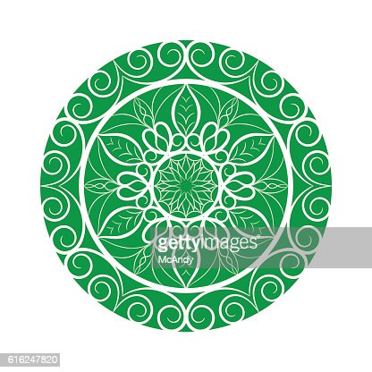 Vector Green Flower mandala over white : Arte vectorial