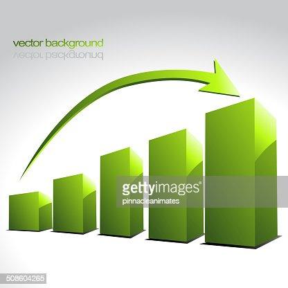 vector verde de gráfico de barras : Arte vectorial