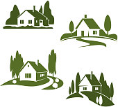 Green house or farm and farmer household icons. Vector isolated set of farmland barn or house in park or woodlands for gardening eco landscape design or home and real estate construction company