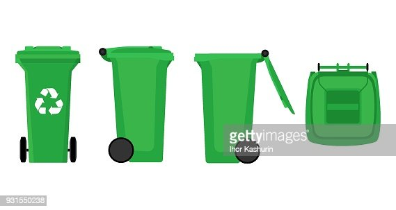Vector Green Recycle Bin for Trash and Garbage Isolated on White Background : stock vector