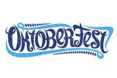 Vector greeting card for Oktoberfest, creative calligraphic font for german beer festival with modern swirls and diamond pattern, original trendy typography for word oktoberfest on white background.