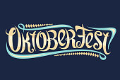 Vector greeting card for Oktoberfest, creative calligraphic font for german beer festival with modern swirls and diamond pattern, original trendy typography for word oktoberfest on blue background.