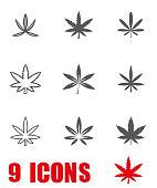 Vector grey marijuana icon set on white background