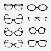 Vector group of an Glasses on white background.