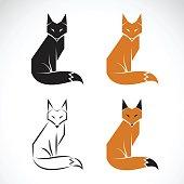 Vector group of fox design on white background. Fox icon. Wild Animals.