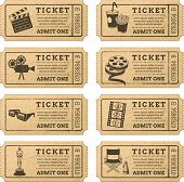 Eight hi quality vector cinema tickets. Each ticket is orgenized in 3 layers, separating background from art and text.
