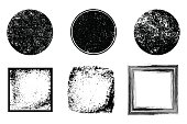 Grunge post Stamps Collection, Circles. Banners, Insignias , Logos, Icons, Labels and Badges Set .
