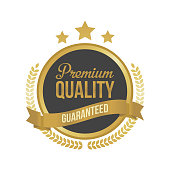 Vector Guaranteed Premium Quality Gold Sign, Round Label.