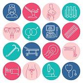 Vector gynecology symbols icon set. Pregnancy and childbirth, obstetrics, gynecology line icons. Fetus symbol. Diagnostic equipment, medical tools. Motherhood.