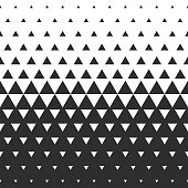 Vector halftone abstract transition triangular pattern wallpaper. Seamless black and white triangle geometric background.