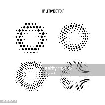 Vector halftone effect set. Different gradient rings in halftone effect. : Vector Art