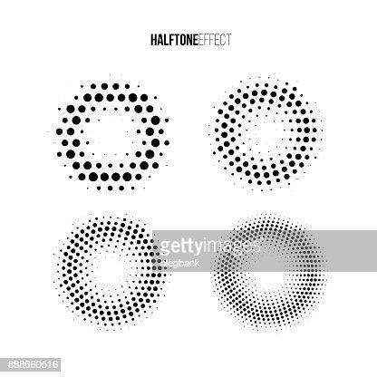 Vektor Halbton Effekt eingestellt. Unterschiedliche Gradienten Ringe in Halbton Effekt. : Vektorgrafik