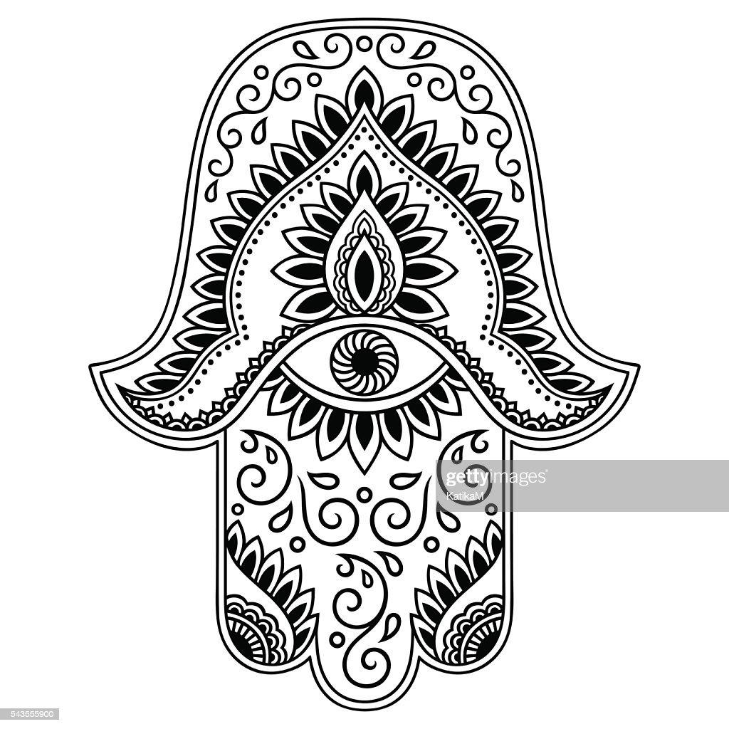 Elegant Vector Hamsa Hand Drawn Symbol Art With
