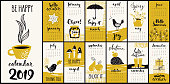 Modern style hand drawn cartoon vector 2019 calendar with monthly symbols