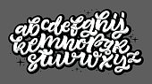 Vector Alphabet Background. Brush Letters. Handwritten Script Alphabet. Hand Lettering and Custom Typography for Designs: Wallpaper Patterns, for Posters, Cards, etc. Vector Illustrations.