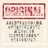 Hand drawn letterpressed font in retro stamp style. Vintage textured grunge alphabet with scratches. Vector brush painted script letters.