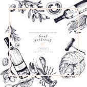 Vector hand drawn banner local gatherings. Frame composition. Wine, seafood, cheese, chicken meet, vegetables cabbage, tomato, olive, lobster. Engraved art Sketched objects restaurant menu party