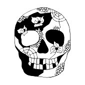 Vector hand drawn black white illustration of smiling skull with flowers, spider web, tooth, face of human Print horror for t shirt. Mexican style, day of the dead, halloween. Sketch, doodle drawing.