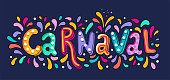 Vector Hand drawn Carnaval Lettering. Party, masquerade banner. poster, card, invitation. Happy Carnival Festive Concept. Carnival Title With Colorful Party Elements, confetti and brasil samba dancer