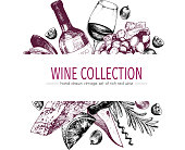 Vector hand drawn color template illustration of wine and appetizers. Bottle, glass, corcksrew, cheese, fruits ans cpices. Vintage engraved style art. For restaurant, menu, shop, market, sale.