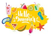 """Vector hand drawn colorful  summer emblem, sticker with lettering """"Hello summer"""" and fruits, beach, diving, cocktails."""