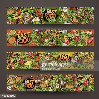 Vector Hand Drawn Doodles Fast Food Banners Design Templates Vector