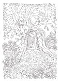 Vector hand drawn fantasy old oak tree with entrance wooden door. Black and white sketch . Tee-shirt print. Adults and children Coloring book page. Batik paint contour, Album cover