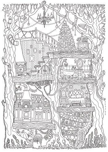 Vector hand drawn fantasy old oak tree with fairy tale house black vector hand drawn fantasy old oak tree with fairy tale house black and white sketch stopboris Choice Image