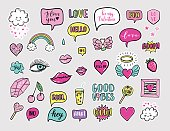 Vector hand drawn fashion patches for Happy Valentines Day. rainbow, cloud, doughnut, cake, camera, lip, heart, speech bubble. Modern set of pop art stickers, patches, pins in 80s-90s cartoon style